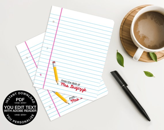 1d9e79e916160 Personalized Pencil Teacher Notes Cards - for Teacher Gifts or Back ...