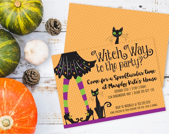 Witch Invitation, Witch Party, Halloween Invitation, Halloween, Costume Party, Self-Editing | DIY Editable Text INSTANT DOWNLOAD Printable