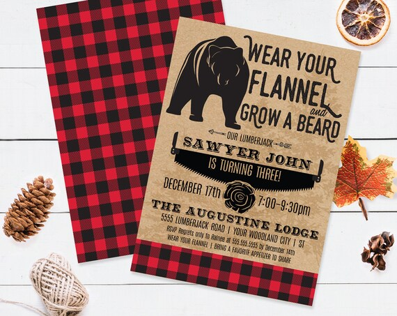 Lumberjack Invitation - Bear Lumberjack Birthday Party, Buffalo Plaid Invite   Self-Edit Text INSTANT DOWNLOAD Printable Template