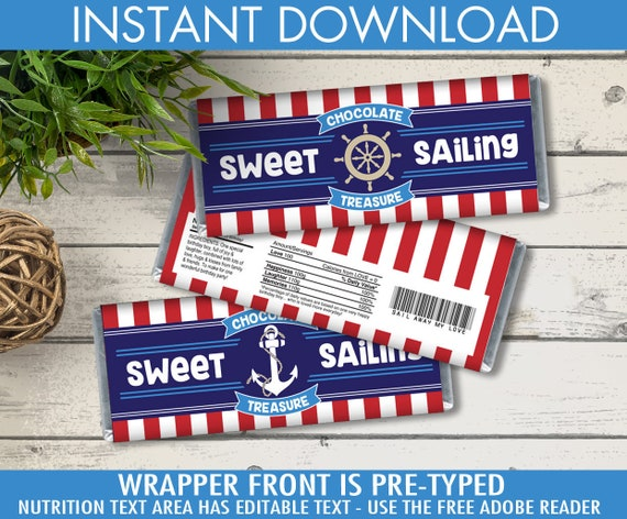 picture about Free Printable Birthday Candy Bar Wrappers referred to as Nautical Sweet Bar Wrappers - Nautical Prefer,Chocolate