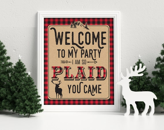 """Lumberjack Party Sign - 8""""x10"""" Pre-Typed Sign, I'm So Plaid, We're so Plaid, Buffalo Plaid, Lumberjack Sign 