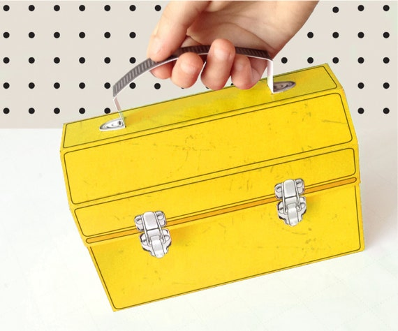 Yellow Construction Tool Box - Great for birthday party favor box, gift box or cupcake box - INSTANT download DIY printable PDF Kit