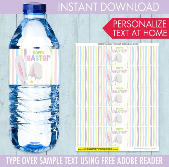 Easter Water Bottle Wrap - Easter Party, Bunny Party, Bunny Baby