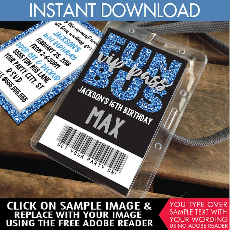Teen ID Badge Party Bus Invite Instant Download D.I.Y Party Favor Tween Badges Badge Invitation Fun Bus VIP I.D Printable PDF Kit