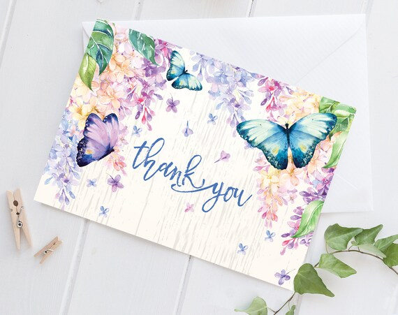 Butterfly Thank You Card - LilacThank You, Spring, Garden Thank you, Spring Thank You Card | DIY Pre-Typed Card INSTANT DOWNLOAD Printable