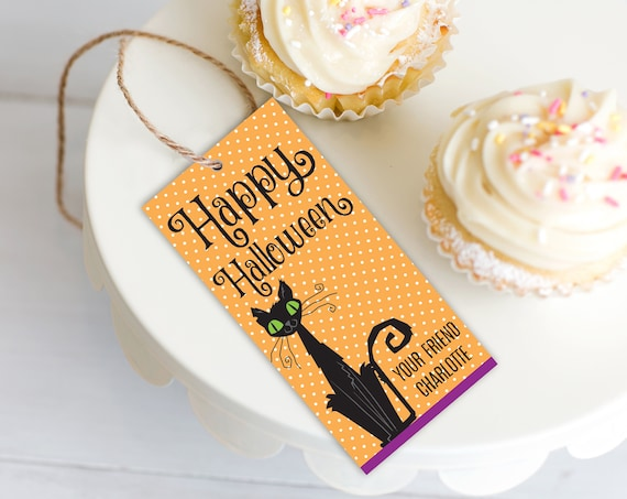 Black Cat Favor Tag - Halloween Party, Witch Gift Tag | Editable Instant Download DIY Printable PDFs