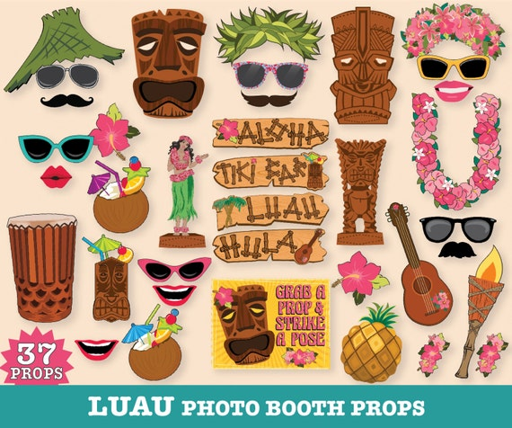 Hawaiian LUAU Photo Booth Props, Luau Props, Tropical Wedding, Shower, Birthday- Instant download PDF - 37 D.I.Y. Printable Kit
