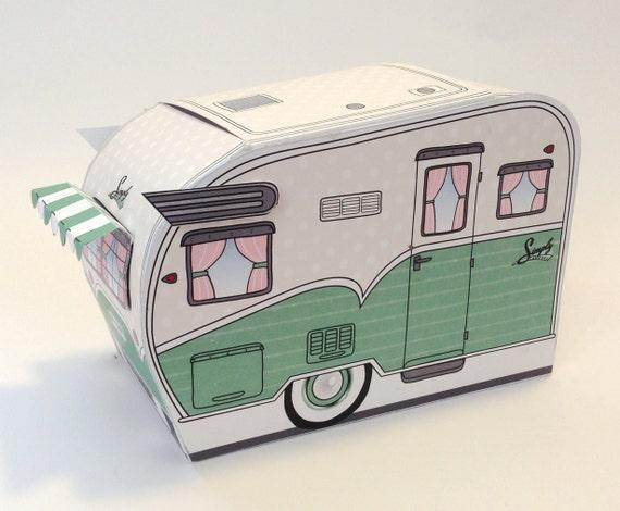 1950s RV Camper Trailer box, Caravan Box, cupcake box, gift card box, GREEN Camper Favor Box  Insatnt Download D.I.Y. Printable PDF Ki