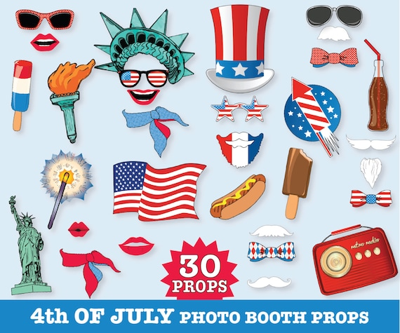 4th Of July Photo Booth Props Independence Day Usa America