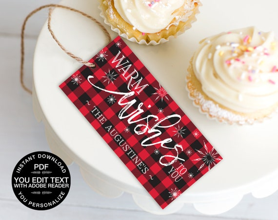 Favor Tag - Flannel & Frost, Hot Chocolate Bar, Hot Cocoa, Pancakes Pajamas, Buffalo Plaid | DIY Editable Text INSTANT DOWNLOAD Printable