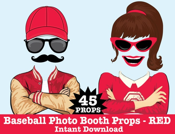 Baseball Photo Booth Props, Retro Baseball Party, Baseball Birthday, Sports Party,  -  Instant Download PDF - 45 DIY Printable Props