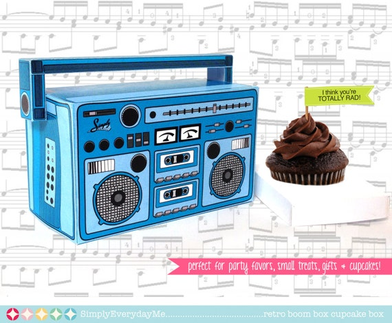 Boom Box - BLUE, cupcake box, party favor box, 40th Birthday, 30th Birthday   Instant download DIY Printable PDF Kit