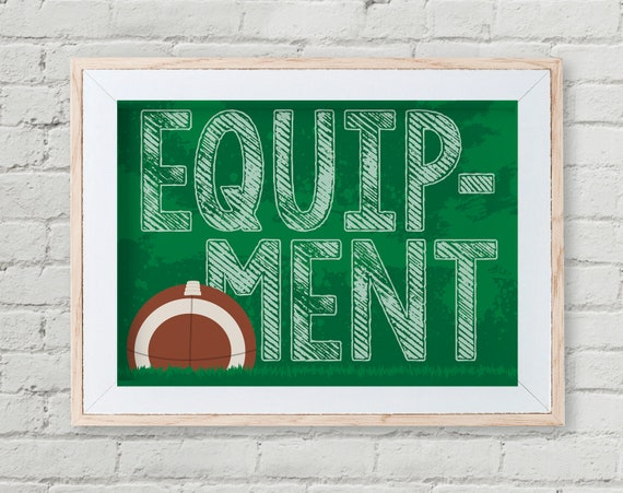 "Football - Equipment 5"" x 7"" Sign - Football Party, Bowl Party, Football Decor 