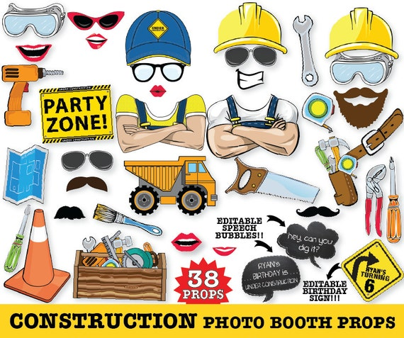 Construction Photo Booth Props, Construction Birthday, Big Truck, Baby Shower - Instant Download PDF - 38 DIY Printable Props