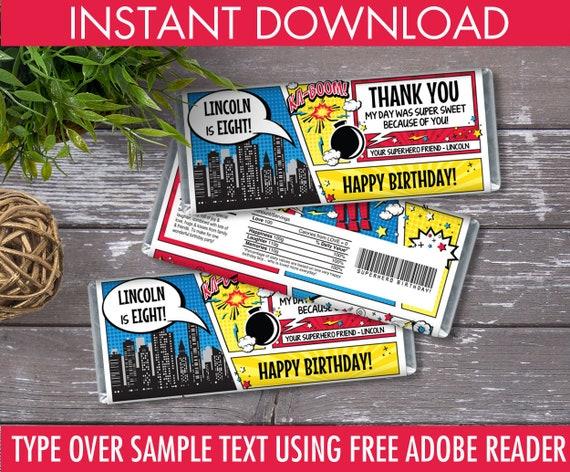 picture regarding Free Printable Birthday Candy Bar Wrappers identified as Superhero Sweet Bar Wrappers - Superhero Want, Chocolate Labels, Superhero Birthday Celebration Editable Words - Fast Obtain PDF Printable