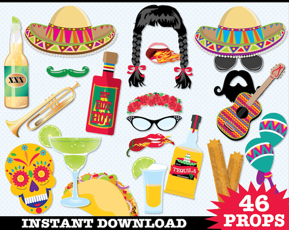 Cinco De Mayo Photo Booth Props - Fiesta, Mexican Holiday, Includes4 Speech Bubbles | Instant Download PDF - 46 DIY Printable Props