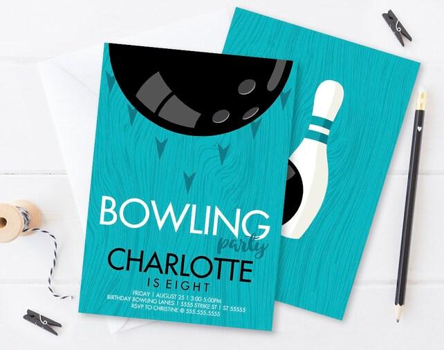 Bowling Invitations - Bowling Party, Bowling Birthday, Retro Bowling, Bowling Invite   Editable Text, INSTANT DOWNLOAD Printable PDF