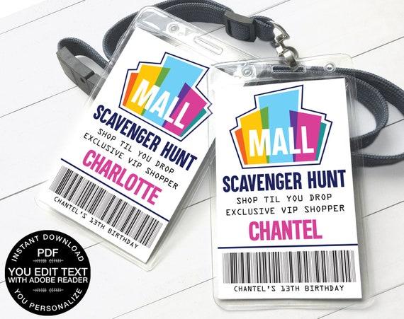 Mall Scavenger Hunt VIP Badge, Shopper ID Badge, Scavenger Hunt Passes | Self-Editing Text D.I.Y. Editable Text INSTANT Download Printable