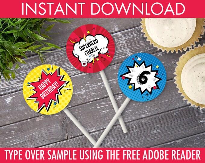 "Superhero 2"" Cupcake Circles, Superhero Party, Superhero Birthday, 2"" Cupcake Toppers   DIY Instant Download PDF Printable"