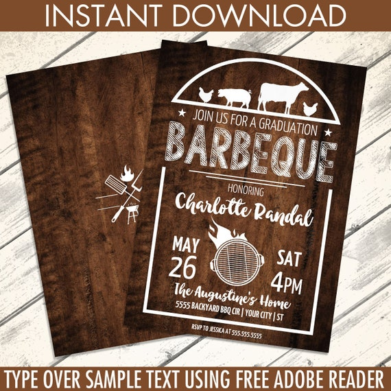 bbq graduation party invitation barbecue invite barbeque