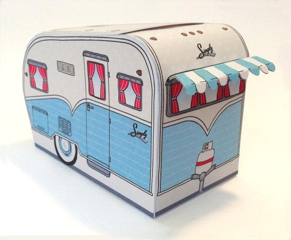 1950s RV Camper Trailer box, Caravan Box, cupcake box, gift card box, BLUE Camper Favor Box | Instant Download D.I.Y. Printable PDF
