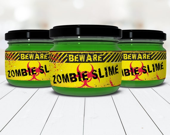 Zombie Slime Jar Label Wrappers - Halloween Party, Slime Party, Zombie Party, Pre-Typed Labels | INSTANT Download PDF Printable Set