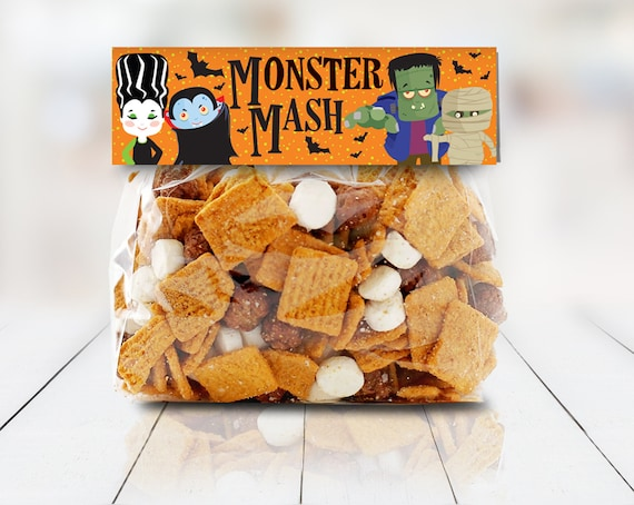 """Monster Mash Treat Baggie Toppers - Halloween Party, Halloween Favor, 6.75"""" Treat Bag Topper 