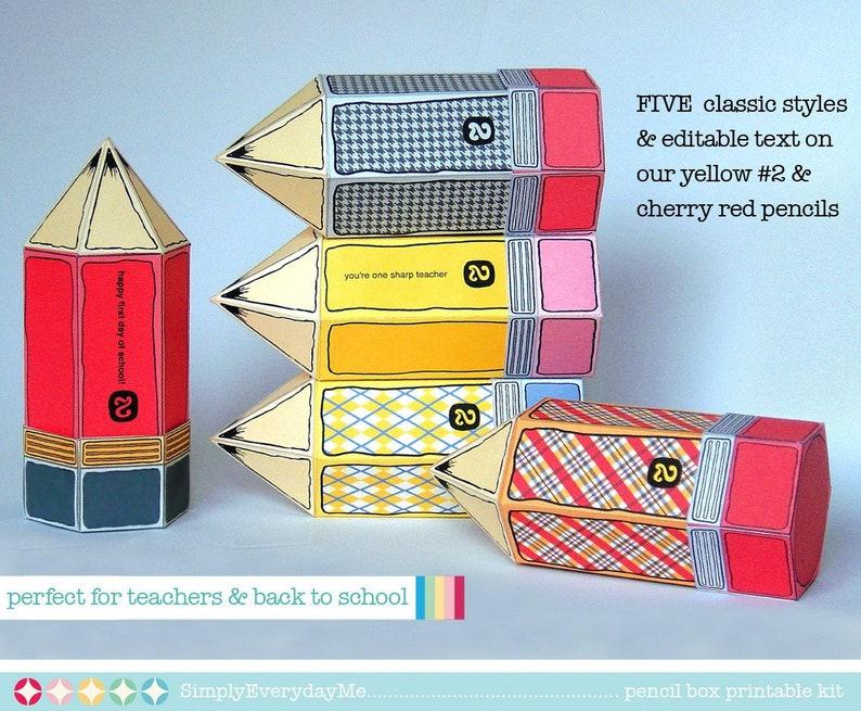 teacher appreciation back to school INSTANT Download D.I.Y for teacher gifts Printable PDF Kit FIVE Pencil Favor Box Kit