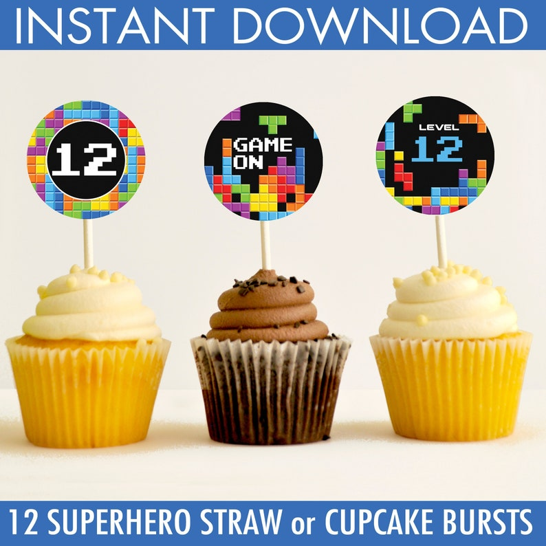 Video Game Party Cupcake Toppers - Retro Game Party, Gamer Party Toper,  Video Game Birthday | Instant Download DIY Printable PDF