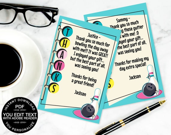 """Bowling Party Thank You 4""""x6"""" Cards, Bowling Party, Birthday, Retro Bowling, Turquoise Pink 