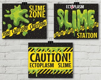 """Ghost-busters Slime 8"""" x 10"""" Signs - Party Signs, Birthday Party, Halloween 