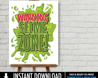 Slime Zone Party Poster - 18x24 Poster, Slime Party, Ghost-buster, Slime, Halloween Party | INSTANT Download DIY Printable PDF