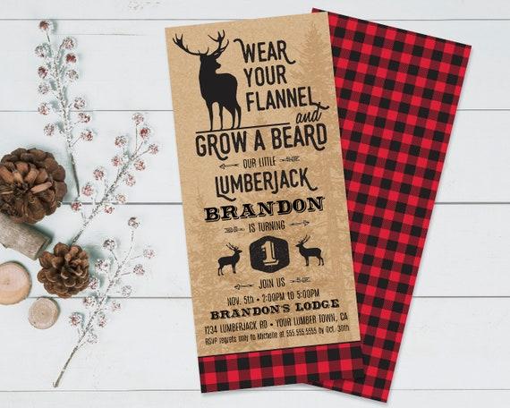 Lumberjack Invitation - Lumberjack Birthday Party, Buffalo Plaid Invitation   Self-Edit Text INSTANT DOWNLOAD Printable Template