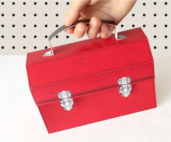 Red Construction Tool Box - Great for birthday party favor box, gift box or cupcake box - INSTANT download DIY printable PDF Kit
