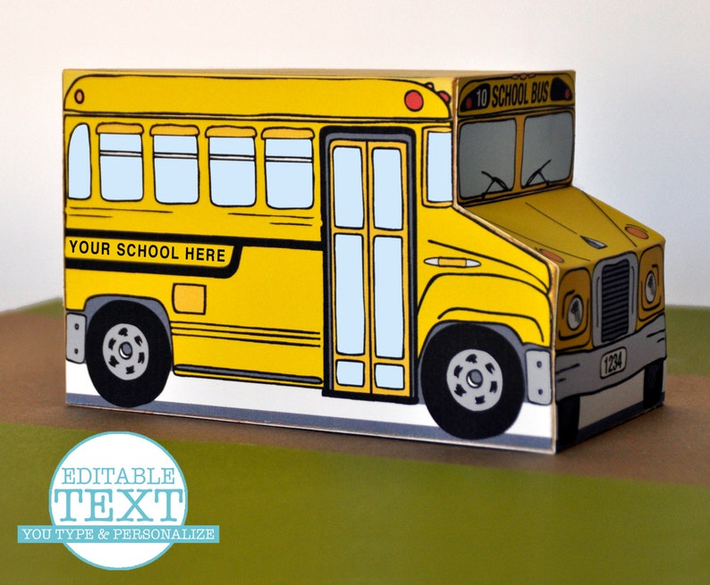 photo regarding School Bus Printable identify Yellow University Bus Box - Customize for instructor presents, social gathering favors, cupcake box - Prompt down load D.I.Y. Printable PDF Package