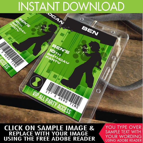 ben 10 id badges party badge ben 10 birthday party favor party