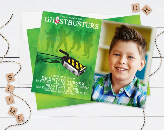 Ghostbuster PHOTO Invitation - Ghostbuster Birthday Party, Slime Party,Halloween,Self-Editing | DIY Editable Text INSTANT Download Printable
