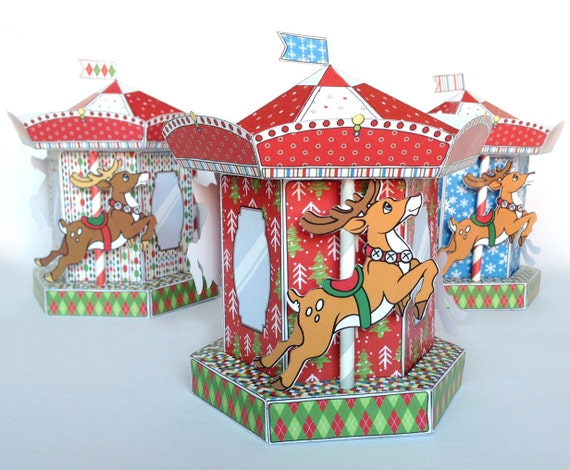 Christmas Printable Box - Reindeer Carousel DIY Box - Merry-Go-Round Box, birthday favor or gift box- PDF kit - Instant download