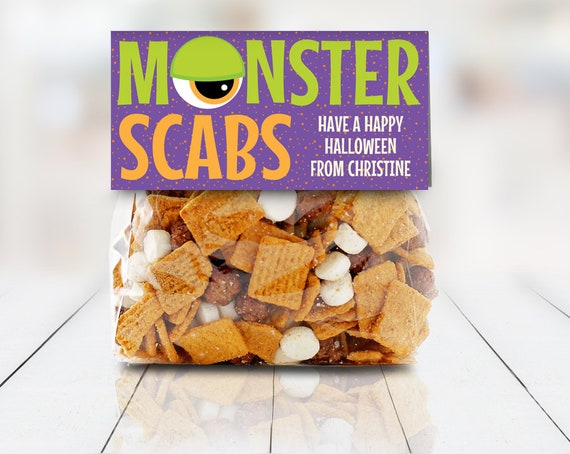 """Monster Scabs Treat Baggie Toppers - Halloween Party, Halloween Favor, 4"""" Treat Bag Topper 