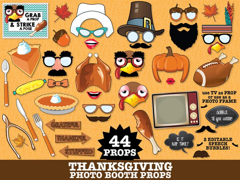 43 DIY Printable Props Thanksgiving Photo Booth Props Instant Download PDF Pilgrim Props Fall Photo Booth Turkey Props