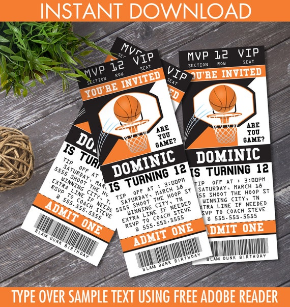 Basketball Ticket Invitation Basketball Birthday Party Ticket