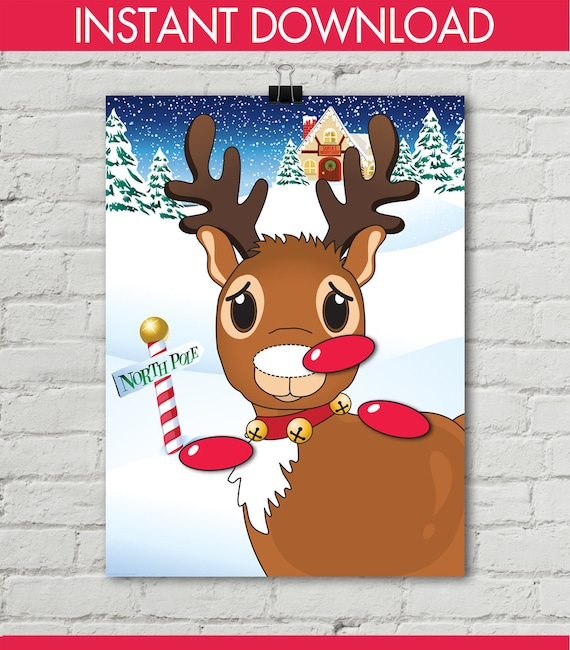 picture relating to Pin the Nose on the Reindeer Printable identify Reindeer Get together - Pin the Nose Activity - Reindeer Game titles