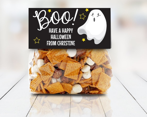 """Ghost - Boo! Treat Baggie Toppers - Halloween Party, Halloween Favor, 4"""" Treat Bag Topper 