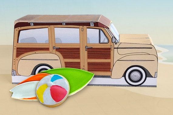 Cream Retro Woodie Surfer Wagon Box - great as cupcake box, gift box or favor box - INSTANT Download DIY Printable PDF Kit