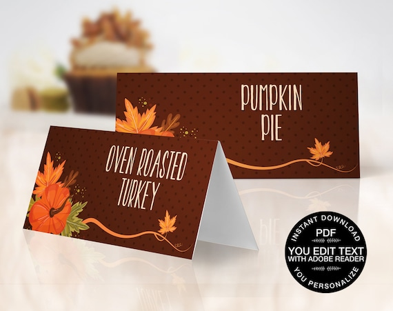 Thanksgiving Food Labels - Name Place Cards - Buffet Tags - Autumn Party, Office Party   EDITABLE Text INSTANT Download Printable PDF