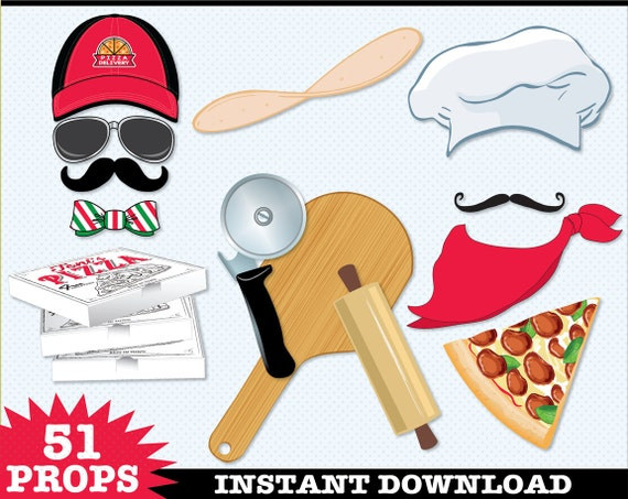 Pizza Photo Booth Props, Pizza Party, Pizza Delivery, Baking Party, Italian Party, Chef Hat - Instant Download PDF - 51 DIY Printable Props
