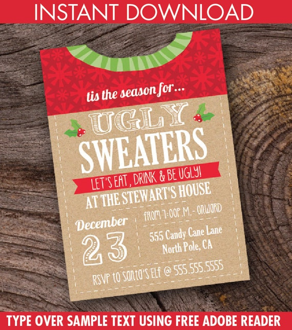 Ugly Sweater Party Invitation Holiday Sweater Party Etsy