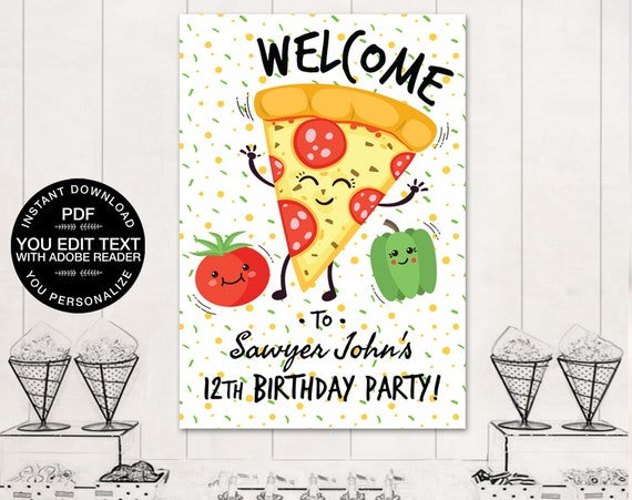 Pizza Party Poster Backdrop - A0 Size, Pizza Party Welcome Sign  | Self-Editing Text - INSTANT Download DIY Printable PDF