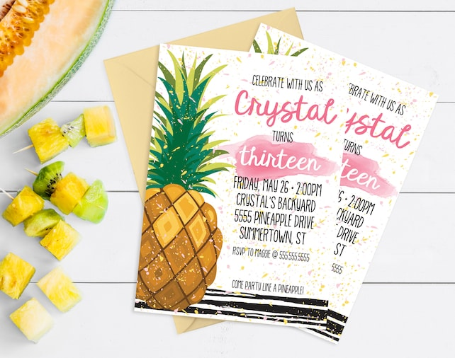 Pineapple Party Invitation - Pineapple Birthday, Party Like a Pineapple, Hawaiian Luau | DIY Editable Text INSTANT DOWNLOAD Printable