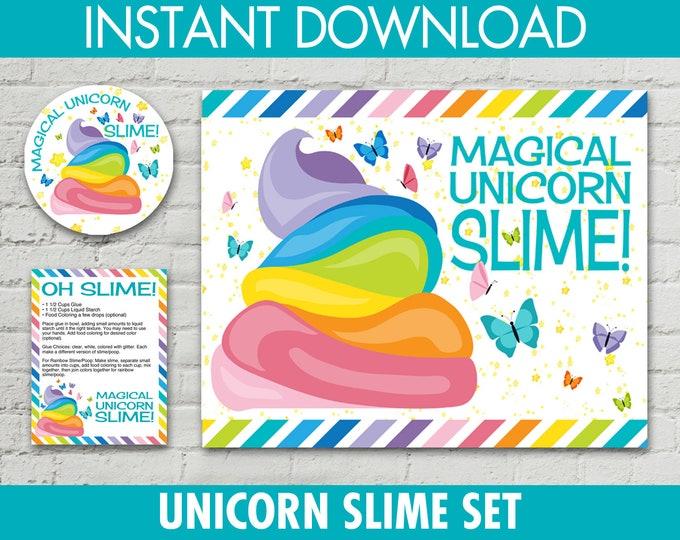 "Unicorn Slime Set - 2.5"" Jar Labels, 8.5""x10"" Sign, Editable Slime Recipe Cards, Unicorn Slime Set, Poo | INSTANT Download PDF - Printables"